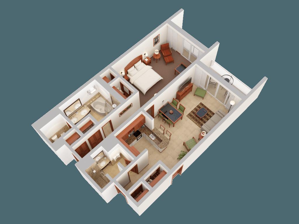 3d floor plans caribe hilton san juan. Black Bedroom Furniture Sets. Home Design Ideas