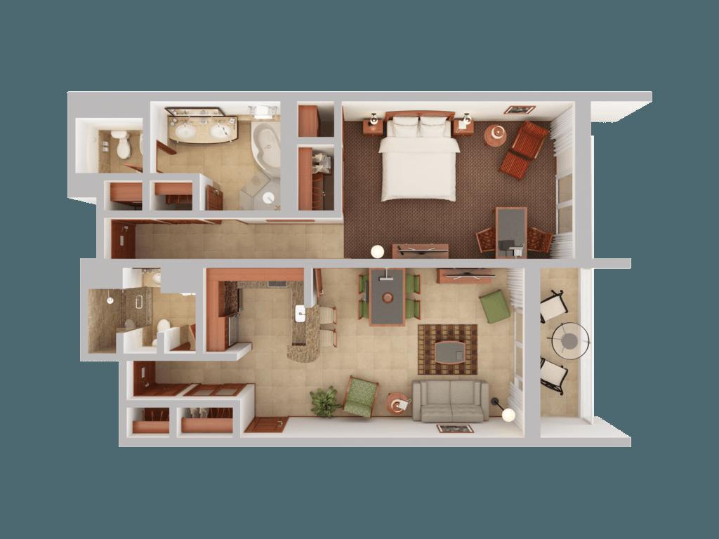 Single bedroom top view - View 3d Floor Plans