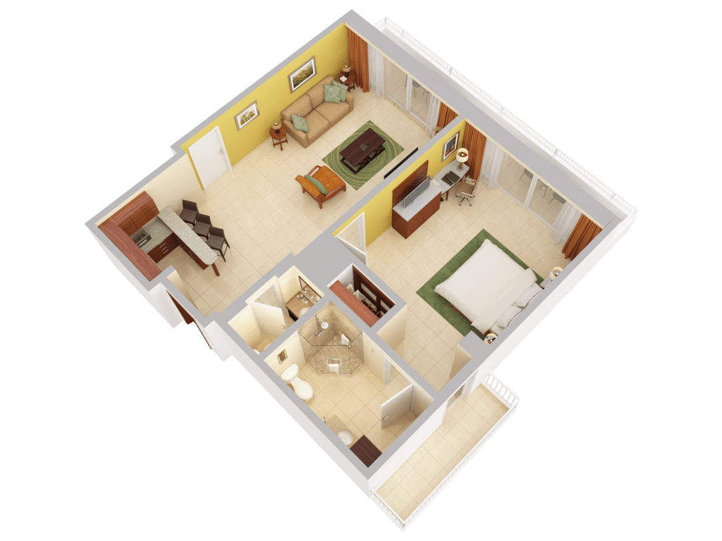 4 Bedroom House Floor Plans 3d Floor Plans Caribe Hilton San Juan
